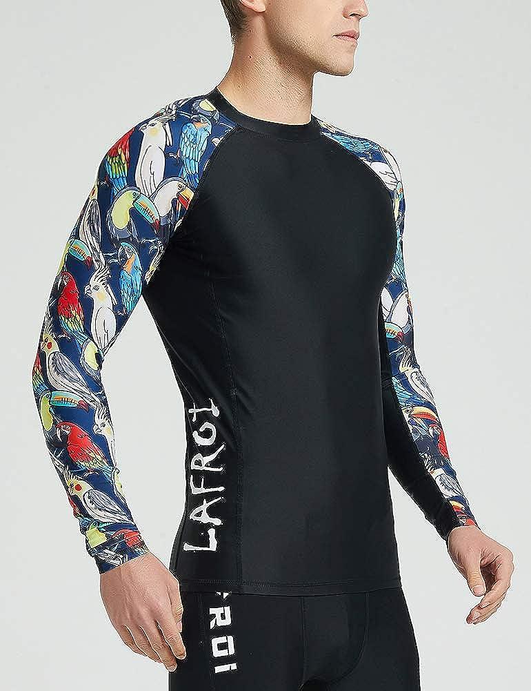 LAFROI Mens Long Sleeve UPF 50 Baselayer Skins Performance Fit Compression Rash Guard