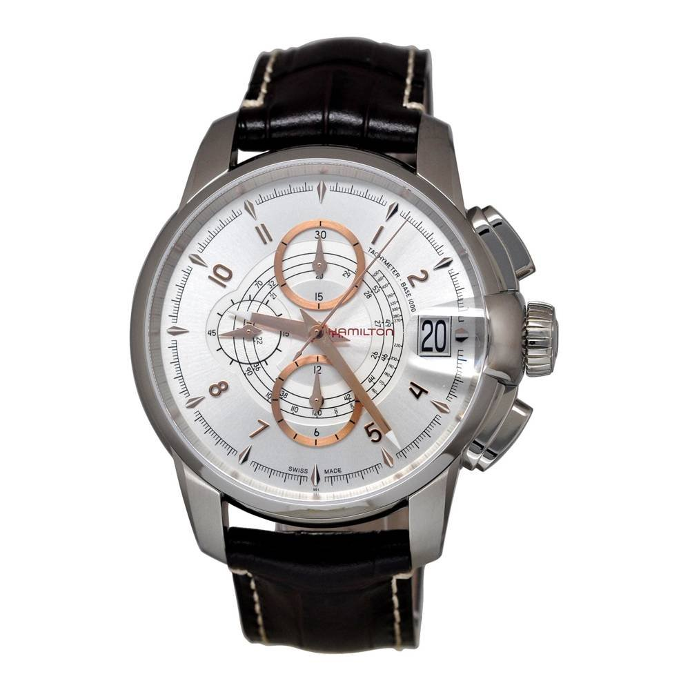 Hamilton H40616555 Men's Railroad Automatic Chronograph Silver Dial Brown Genuine Leather Watch