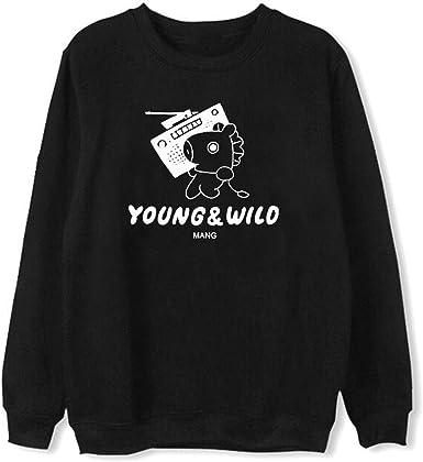 Ljdemmke BTS Cartoon Print Unisex Sweatshirt Fleece Pullover Hooded Hoodies Coat