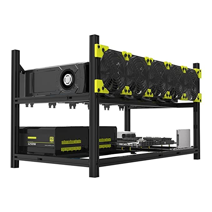 Open Air Mining Rig Case Rack Miner Frame For Ethereum 4 Fans 6 GPU ETH BTC LC
