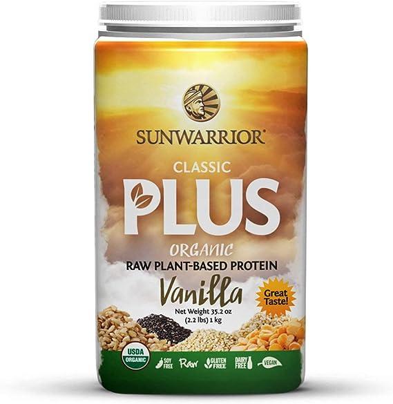 Sunwarrior Classic Plus, Raw Organic Plant Based Protein, Vanilla, 2.2 Pound