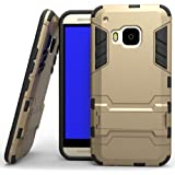 Heartly HTC One M9 Back Cover Graphic Kickstand Hard Dual Rugged Armor Hybrid Bumper Case - Mobile Gold