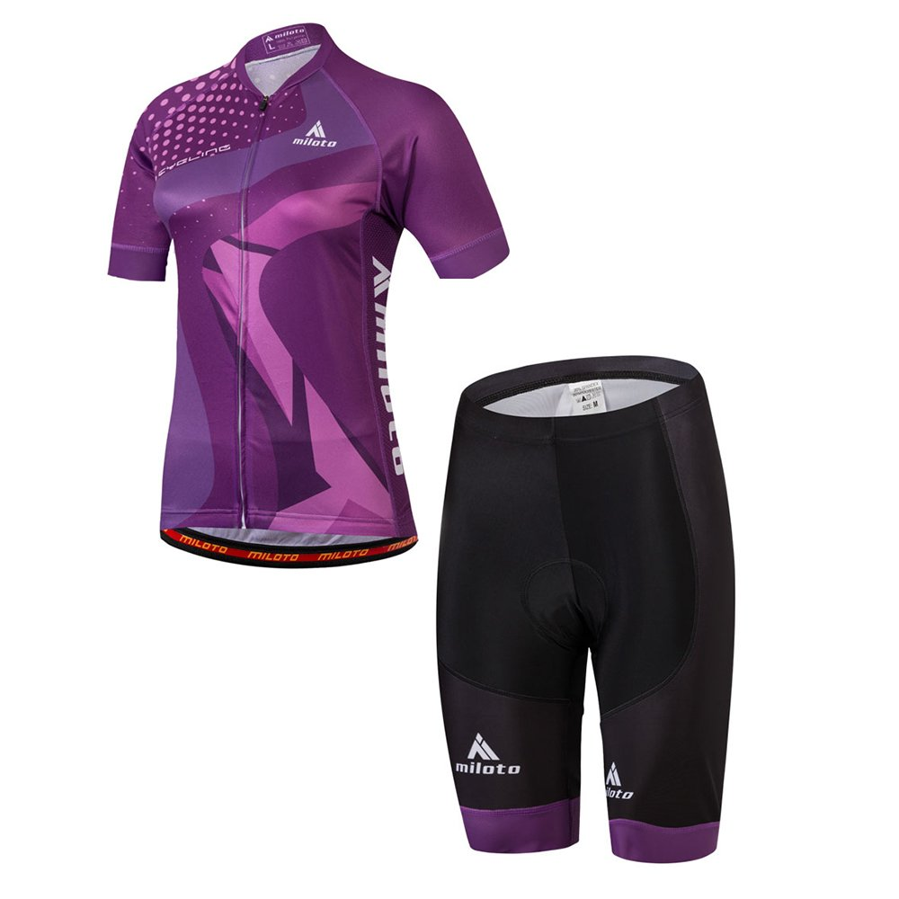 Purple MILOTO Women's Cycling Jersey Reflective Shirt Padded Shorts Set