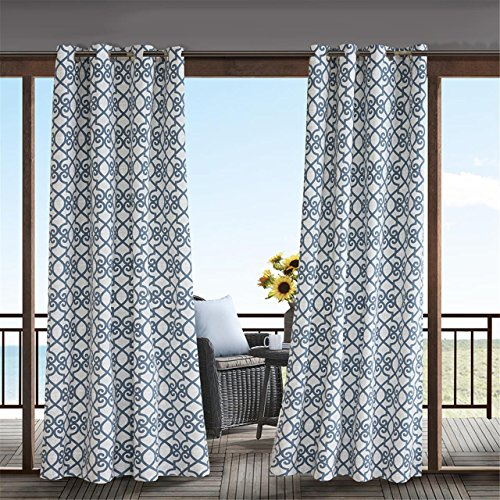 Navy Curtains for Door, Modern Contemporary Fabric Light Window Curtain for Outdoor, Daven Print Modern Window Curtains, 54X95, 1-Panel Pack ()
