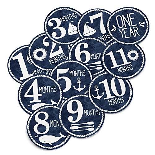 - Baby Monthly Stickers - Nautical Milestone Month Sticker for Onesie or Scrapbook - Twelve  4
