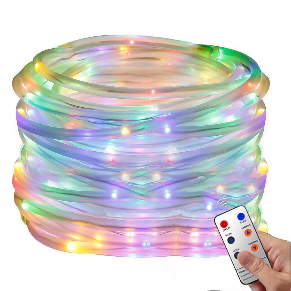 Christmas Rope Lights, 33Ft 136 LED Waterproof Strip String Lights with Remote, Firefly lights, 8 Mode Fairy Lights For Christmas Xmas Halloween Home Outdoor Holiday Decoration(Multi-color)