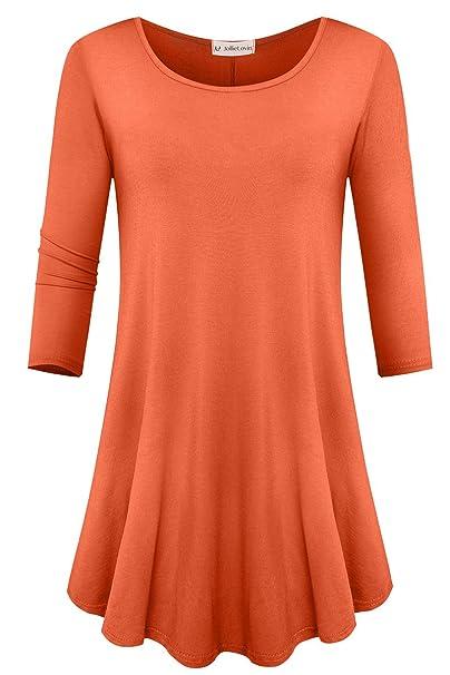 JollieLovin Womens 3/4 Sleeve Loose Fit Swing Tunic Tops Basic T Shirt  (Brick
