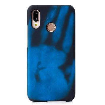 Felfy Okssud Carcasa Huawei P20 Lite,Funda Huawei P20 Lite Suave Silicona,Azul Handprint Patrón inducción Calor Temperatura Cambio Color Case