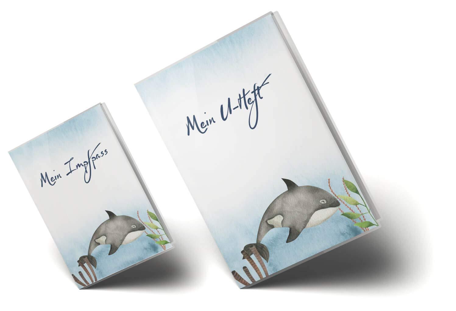 U-Heft H/ülle SET Walfisch Untersuchungsheft H/ülle /& Impfpassh/ülle Schwangerschaft Geschenkidee personalisierbar mit Namen U-Heft Set 3-teilig, Blauwal