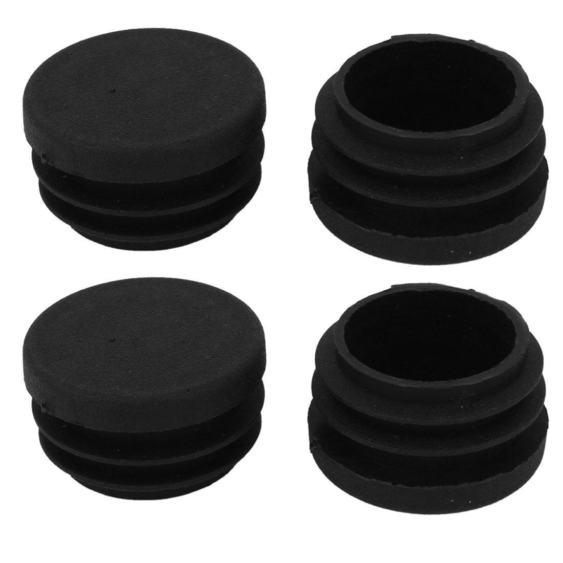 30mmx21mm Pl/ástico Negro Ciego Tapones Para Patas Tubo Inserci/ón Tapa Tap/ón 4 Piezas