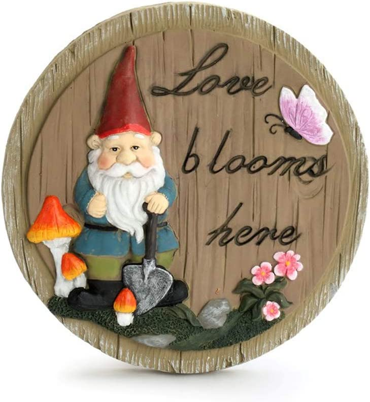 Gnome Natural Brown 10 x 10 Resin Stone Outdoor Decorative Stepping Stone