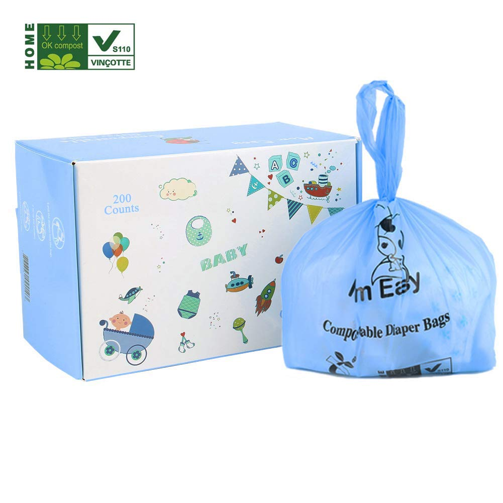 MOM EASY Biodegradable Poop Bags Tie Handle, Compostable Diaper Sacks, 200 Counts Diaper Bags Blue Color by MOM EASY