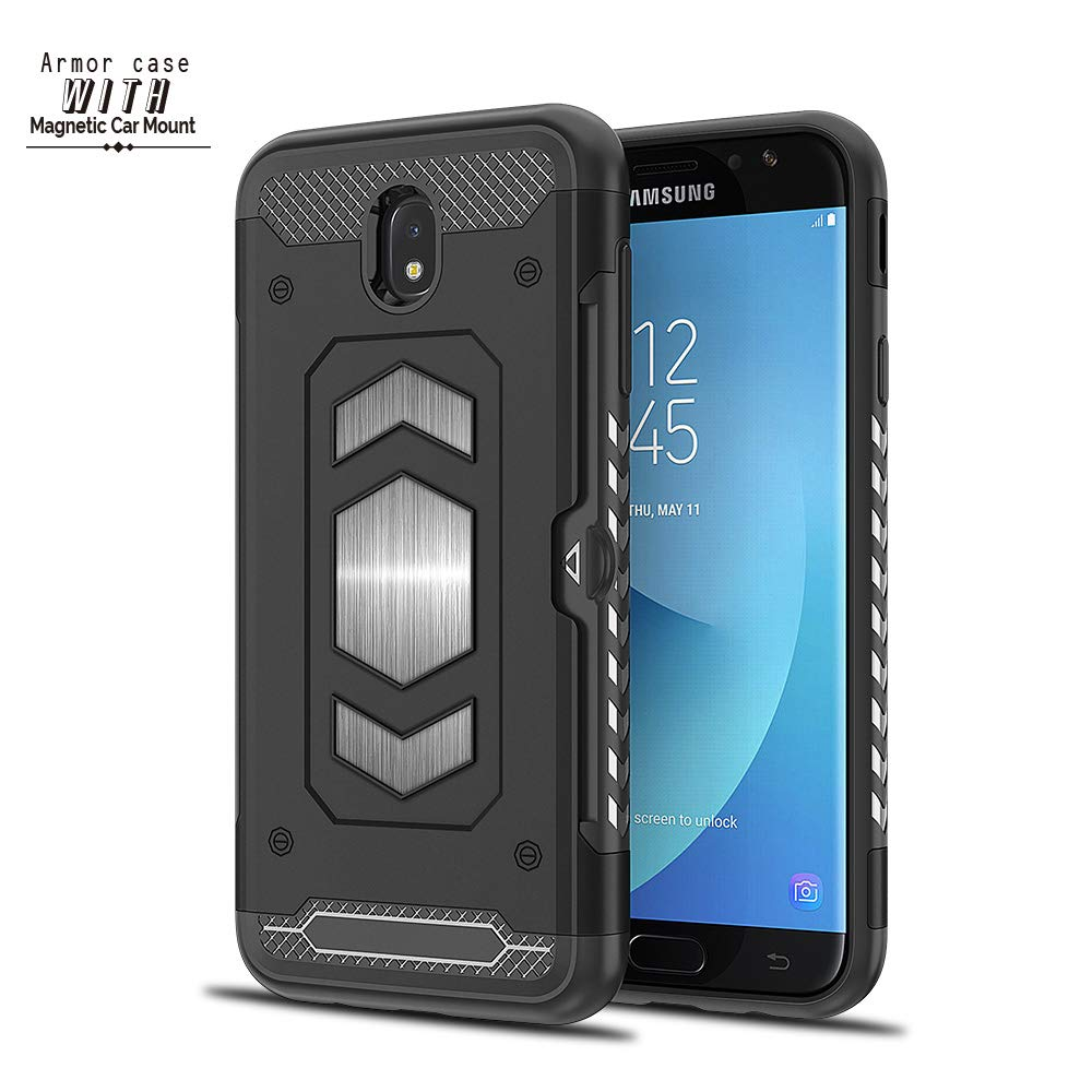 Samsung Galaxy J337//J3 2018 case Hard Shell with Card Holder Military Duty Protective Cover Compatible Magnetic Car Mount