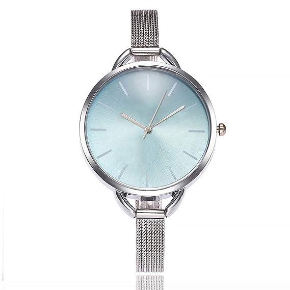 SSMENG Reloj de Pulsera analógico de Acero Inoxidable con Correa de Lujo para Mujer Negro E Talla única: Amazon.es: Relojes
