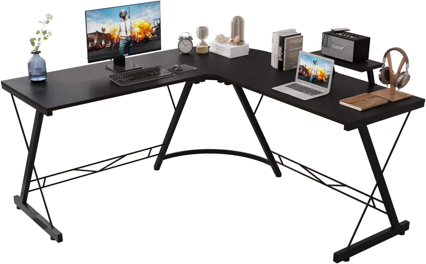 Corner Side L Shaped Table, Home Office Computer Desk with Small Desktop Shelf, Study Writing Desk with Round Fillet Edge, Desks for SOHO/Workstation, Gaming Workstation with Monitor Stand (JetBlack)