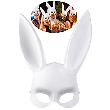 OULII Hombres mujeres disfraces Bunny conejo Máscara Halloween accesorio del traje, regalo de Pascua o