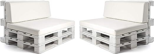 SUENOSZZZ-ESPECIALISTAS DEL DESCANSO Pack 2 Asientos y respaldos para Sofas de palets, Cojines Chill out Rellenos con Espuma y enfundados en Polipiel Color Blanco: Amazon.es: Jardín