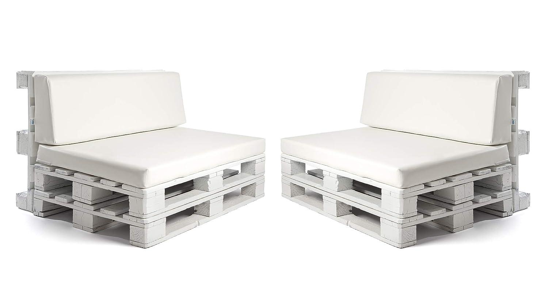 Pack de 2 colchonetas para sofas de palet y respaldo Blanco (2 x Unidades) Cojin relleno con espuma. | Cojines para chill out, interior y exterior, ...