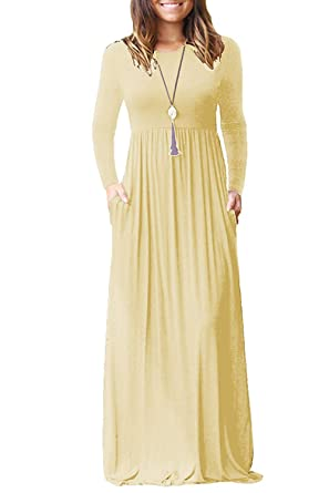 4d1ee154c132 Women Maxi Dresses Casual Long Sleeve A Line Dress with Pockets: Amazon.co.uk:  Clothing