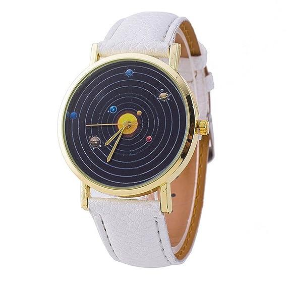 vavna® Top New Unisex estudiante sistema Solar impresión de cuero de las mujeres de cuarzo reloj de pulsera, color blanco y dorado: Amazon.es: Relojes