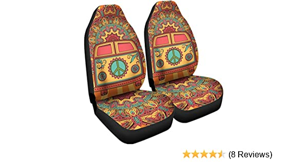 Fit Most Vehicle Cars Van Truck PZZ Boho Striped Aztec Front Seat Covers 2 pc,Vehicle Seat Protector Car Mat Covers SUV Sedan