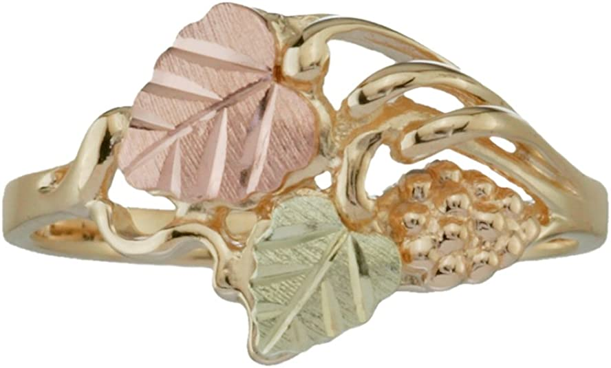 Sterling Silver Fancy Bypass Scrollwork Ring 12k Green and Rose Gold Black Hills Gold Motif 10k Yellow Gold