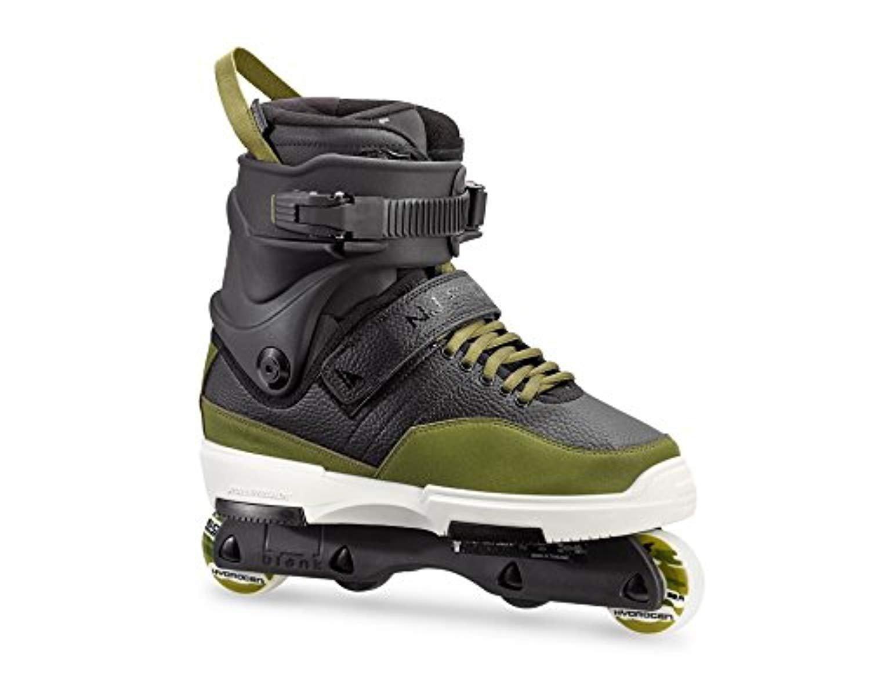 Rollerblade NJ Pro Skates Black/Army Green 29.5 & Headband Bundle