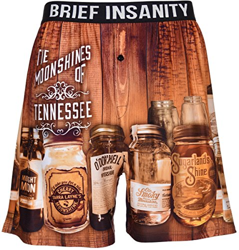Brief Insanity Men's Boxer Shorts Underwear by Bourbons Beers Moonshines & Cocktails (Medium, BIBXR - Moonshines Of Tennessee) (Vinyl Mens Shorts)