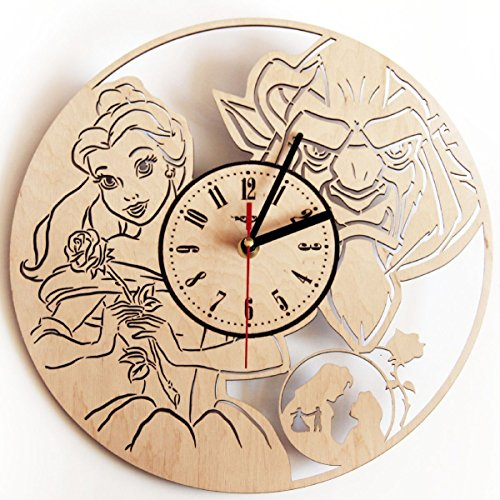 (Beauty and The Beast Silent Wood Wall Clock - Original Home Nursery Living Room Bedroom Kitchen Decor - Best Gift for Friends Kids Men Woman - Unique Wall Art Design)