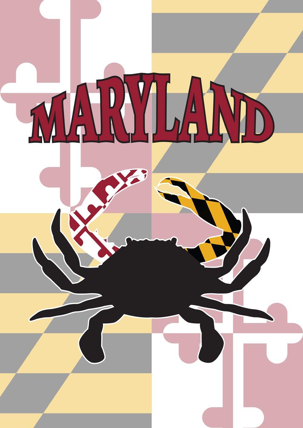 "Toland Home Garden Maryland Crab Decorative Garden Flag 12.5 by 18"" State Blue Crustacean, Garden-Small-12.5x18"