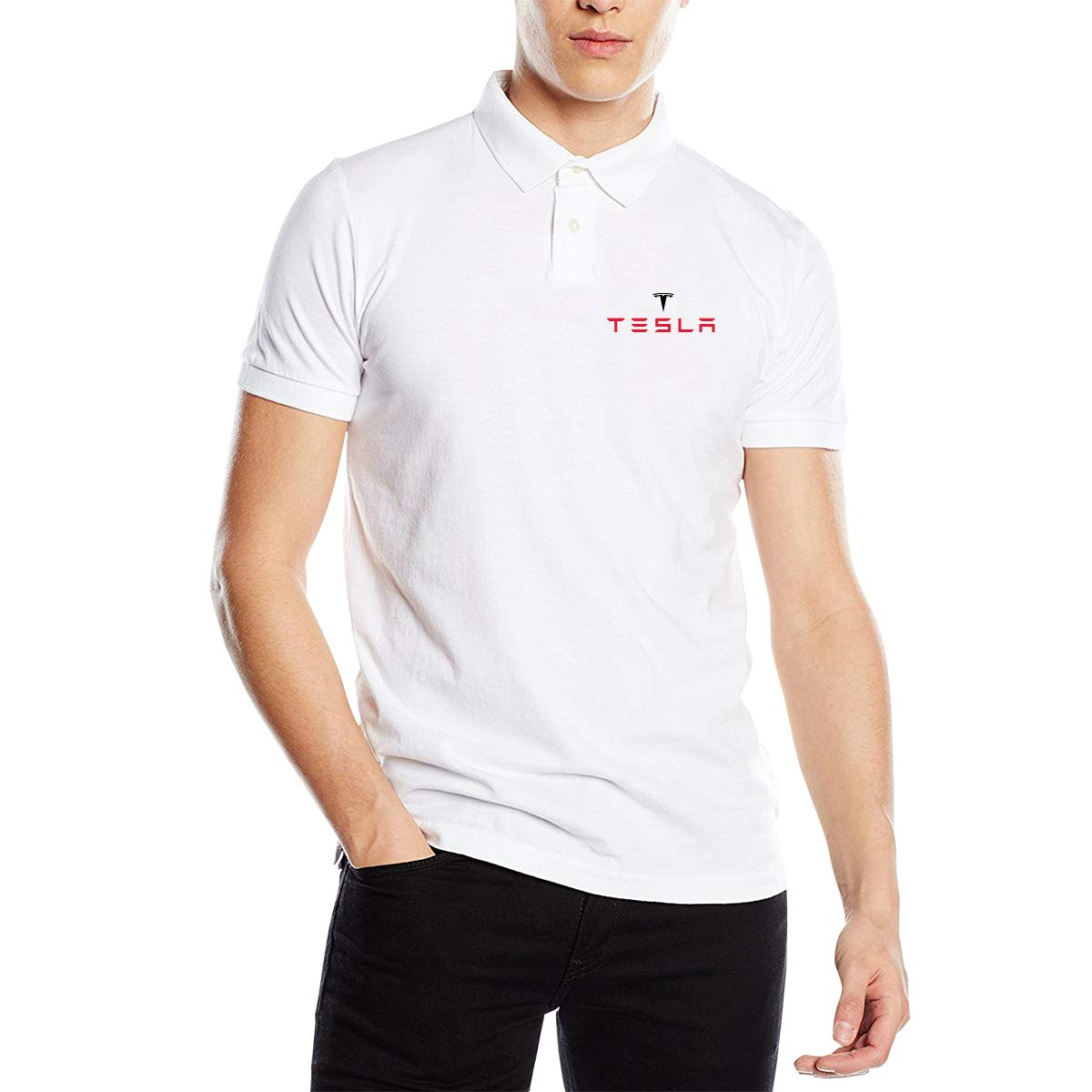 UESEU Personalized Tesla Motors Logo Short Sleeve Classic Polo Shirt T-Shirts for Mens