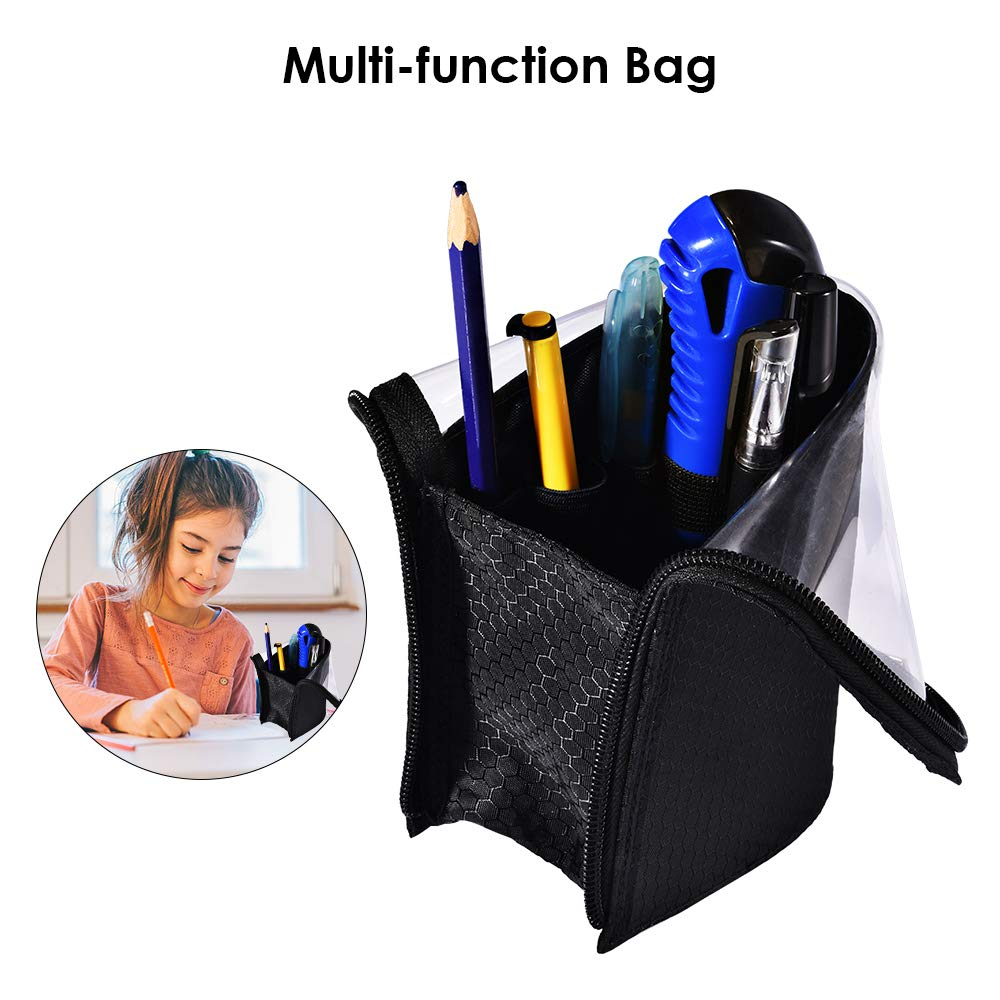 Travel Make-up Brush Cup Holder Organizer Bag, Pencil Pen Case for Desk, Clear Plastic Cosmetic Zipper Pouch, Portable Waterproof Dust-Free Stand-Up Small Toiletry Stationery Bag with Divider, Black by ROYBENS (Image #8)