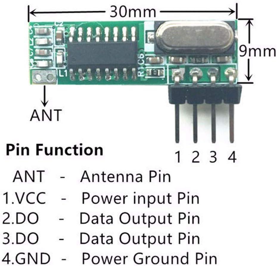 ZOUCY 1 Juego de 433Mhz Superheterodyne Receptor RF Kit de m/ódulo transmisor con 2 Antenas
