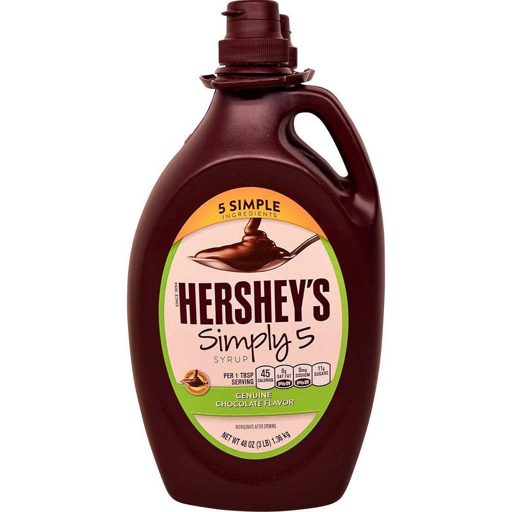 Hershey's Simply 5 Syrup 5 Simple Ingredients Genuine Chocolate Flavor 48 Oz (3 Lbs) Bottle, 2-Pack