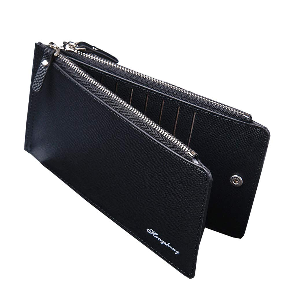 Brown Men Long Bifold Wallets 16 Slots Card Holders Zipper Leather Wallet Cash Coin Pocket