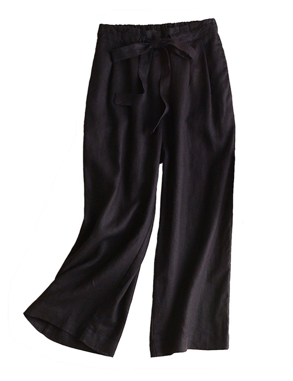 IXIMO レディース リネン ロングパンツ ワイド パンツ 無地 ウェストゴム ドロスト プリーツ入り ゆったり カジュアル きれいめ ワイドパンツ ズボン 6色展開 B07CG33712 M|ブラック ブラック M