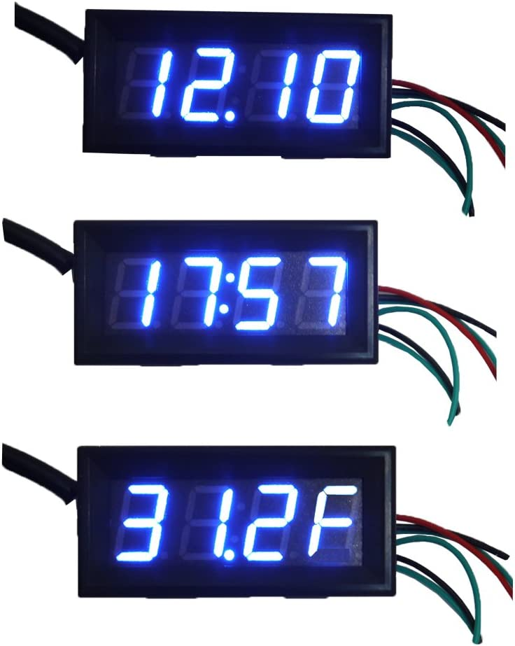 Holdding Fahrenheit Scale /°F 0.56 DC 12V Digital Car Clock Thermometer Voltmeter 3in1 Blue LED Auto Gauges DS18b20 Electronic Clock with Anti-reverse Protection Probe