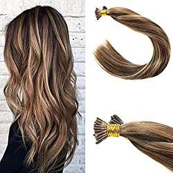 VeSunny 16inch I Tip Extensions Color #4 Dark Brown Mixed #27 Caramel Blonde Fusion Extensions Remy Human Hair 50Gram Per Package