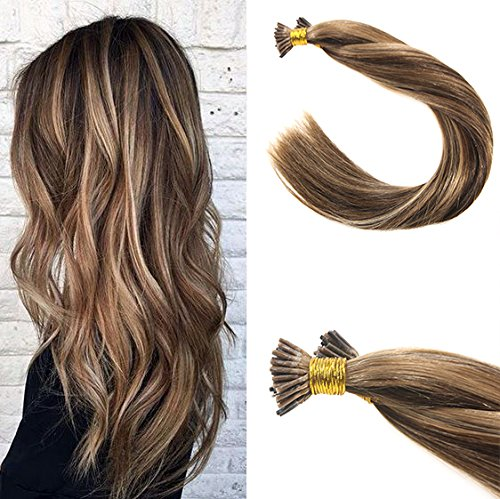 VeSunny 16inch I Tip Extensions Color #4 Dark Brown Mixed #27 Caramel Blonde Fusion Extensions Remy Human Hair 50Gram Per - Hair Fusion Human