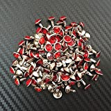 Package of 10 RED JEWEL Metal Rivet Studs 5/16'' (8mm) Leather Crafts BEAUTIFULLY SUITABLE FOR CLOTHES , FOOTWEAR , BAG