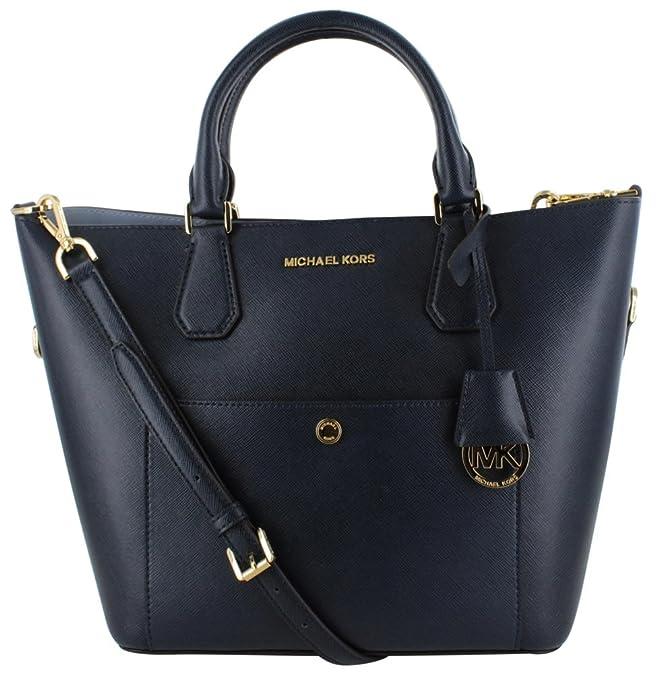 b6e6cb3714e7 Michael Kors Greenwich Large Navy   Pale Blue Saffiano Leather Grab Bag   Handbags  Amazon.com