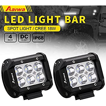 LED Pods Light Bars Aaiwa 2PCS 4Inch 18W Spot Beam Driving Fog Light Off Road SUV Jeep Boat Light,5 years Warranty