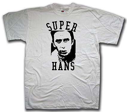 996be647 Amazon.com: Old Skool Hooligans Super Hans tribute T shirt for Peep Show  afficonados: Clothing