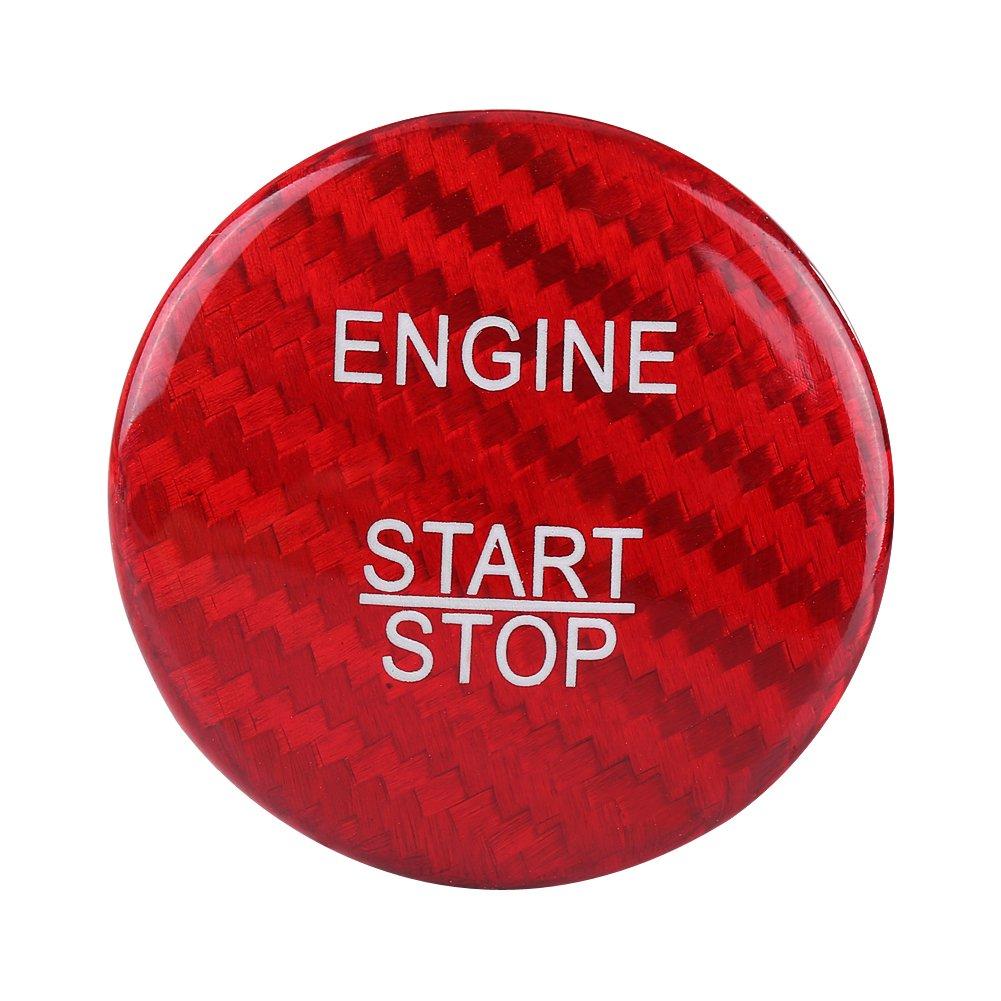 Qii lu Carbon Fiber Engine Start Stop Button Cover Trim for Mercedes Benz A B C GLC GLA CLA ML GL Class (Red) Qiilu