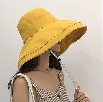 ZLYDXMD Sombrero para El Sol Sombrero Pescador Hembra De Color Sólido De  Canto Grande Tapa Cuenca 858320a89d3
