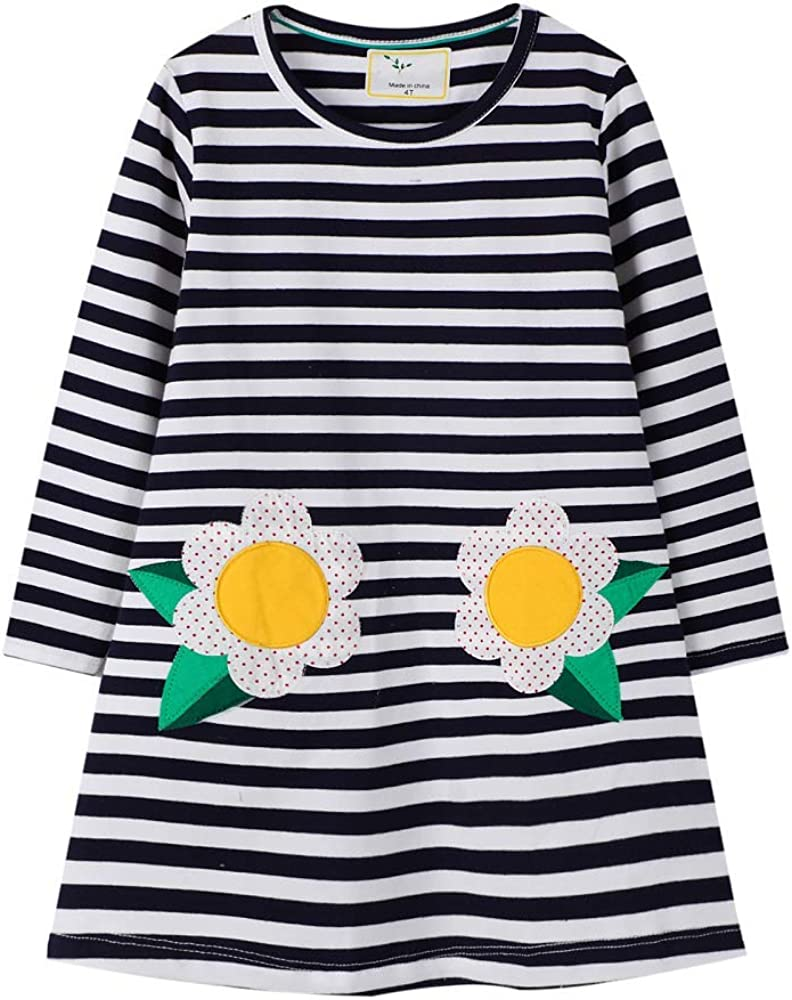 Hongshilian Toddler Girls Longsleeve Dress Cotton Jersey Casual Dresses Cartoon Applique