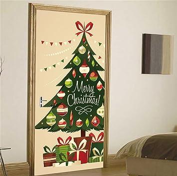 Decorar Arbol Navidad En Papel.Tie 3d Murales De Puerta Impermeable Autoadhesivo