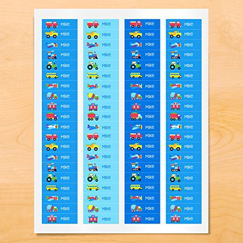 Trains, Planes, Trucks Mini Waterproof Peel and Stick Personalized Labels for School and Camp, 80 Custom Labels