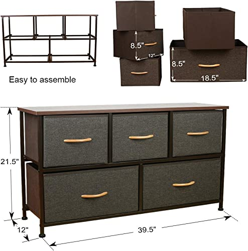 U-Eway Home Dresser,Storage Tower,Sturdy Steel Frame,MDF Wood Top,Removable Drawers,Height Adjustable Feet,Storage Organizer