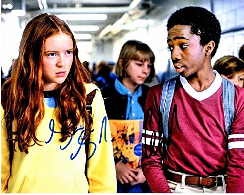 Sadie Sink and Caleb McLaughlin Signed - Autographed Stranger Things 8x10 inch Photo - Max and Lucas